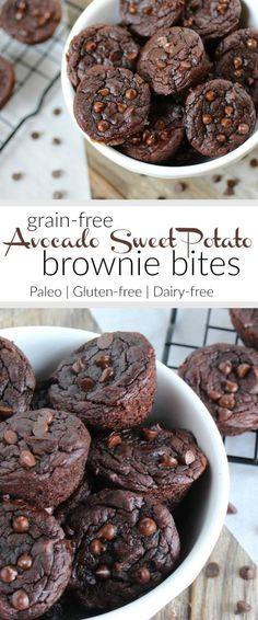 Grain-free Avocado Sweet Potato Brownie Bites #justeatrealfood #therealfoodrds