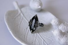 Black Statement Ring Bling Ring made with a large black button by AngleAh on Etsy