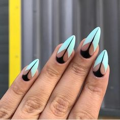Black and Tiffany blue gel nail art and design inspiration