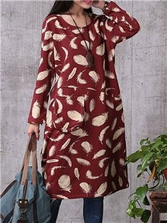 Ericdress Feather Print Casual Dress