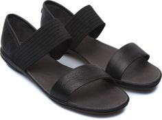Right is a lightweight women's sandal with flexible straps and a contemporary design.