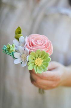 Войлок букет / Роза, Дейзи, и Уайлдфлауэр / навсегда Цветы