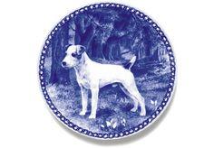 Jack Russell Terrier Danish Blue Dog Plate