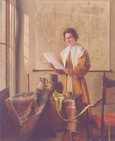A lady reading at a sunlit window by Franz Xaver Wolf