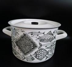Arabia Finel Finland Kaj Franck enamel enameled large pot fish Design   eBay