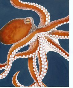 Orange Octopus 8x10 Painting by seedlingshop on Etsy, $60.00