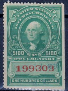 United States - $100 Documentary Internal Revenue Stamp.