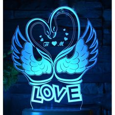 Acrylic lamp Swans and Love All The Colors, Different Colors, Swans, Kids Room, Neon Signs, Led, Room Kids, Child Room, Kid Rooms