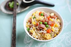 Spam Fried Rice.  Spam, eggs, and mixed vegetable mix. yum yum!!  From Rasa Malaysia blog.