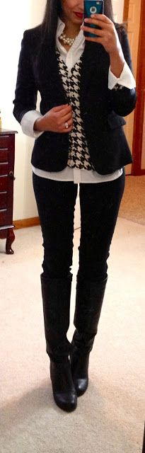 Hello, Gorgeous!:White Button-Up-Shirt, Houndstooth V-Neck Cardigan, Black Blazer, Black Pants, Black Boots