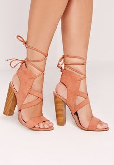 Missguided - Cross Strap Lace Back Block Heeled Sandals Pink