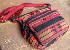 Man Bag Tribal Ethnic Naga Embroidered Cross Body Messenger Bag Tote Red Tan Black