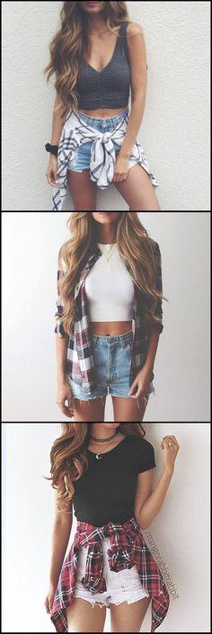 Cute Casual Summer Outfit Ideas for Teens 2017 Flannel Plaid High Waited Denim Shorts Crop Top Tumblr