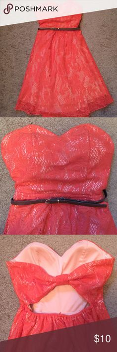 Strapless lace detailed dress Strapless bright coral colored dress with lace detailing and bow back. Can be worn with or without skinny brown belt. Mid thigh length. Only worn once, in great condition. Willing to take any reasonable offer! (: Emerald Sundae Dresses Midi