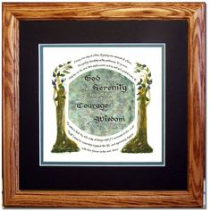 Serenity Prayer Framed Gift for Home, Office, Loved One and Friend