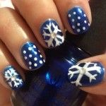Blue snowflake nails