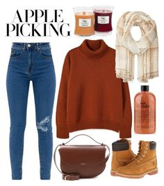 """Autumn"" by frizzandfreckles ❤ liked on Polyvore featuring A.P.C., Polo Ralph Lauren, Timberland and WoodWick"