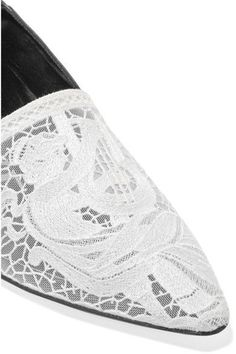 Loewe - Embroidered Mesh And Leather Loafers - Black