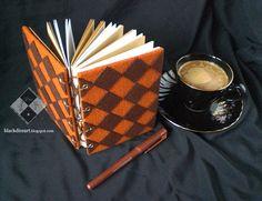 "NFL004v1-Handmade Felt Notebook Brown Checker ""Coffee Cake"" A6 var 1 | blackdiceart.blogspot.com"
