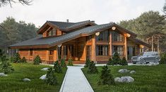 I Love House, House In The Woods, Style At Home, Wood Arch, Post And Beam, Log Homes, Lodges, Beautiful Homes, Home Goods