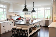 "This beautiful kitchen was inspired by ""Something's Gotta Give"" Dove white cabinets"