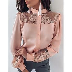 Season:Summer,Spring; Fabric:Polyester,Satin; Sleeve Length:Long Sleeve; Gender:Women's; Tops Type:Shirt,Blouse; Occasion:Daily,Vacation; Fit Type:Regular Fit; Pattern:Solid Colored; Design:Floral,Embroidered,Mesh,Lace; Neckline:Round Neck; Special Size:EU / US Size; Front page:FF; Listing Date:03/31/2020; Bust:; Length:; Special selected products:COD; Fit US Size:; Fit UK Size:; Fit EU Size: Legging Plus Size, Hijab Stile, White Lace Blouse, Ruffle Blouse, Blouse Styles, Look Fashion, Winter Fashion, Luxury Fashion, Chic Outfits