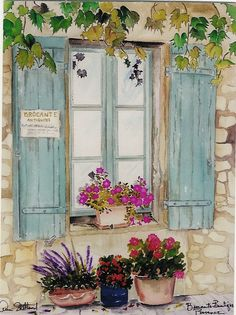if only I could paint such a picture like this. Watercolor Pencil Art, Watercolor Projects, Watercolor Artists, Watercolor Landscape, Watercolour Painting, Watercolor Flowers, Art Impressions, Inspiration Art, Window Art