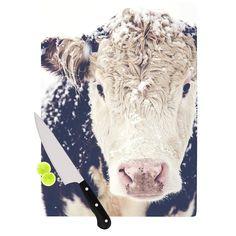 Kess InHouse Debbra Obertanec 'Snowy Cow' Black White Cutting Board