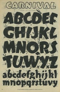 Carnival fun lettering font alphabet via Speedball textbook Hand Lettering Alphabet, Doodle Lettering, Lettering Styles, Typography Letters, Graffiti Alphabet, Graffiti Lettering, Sign Writing, Letter Stencils, Handwriting Fonts