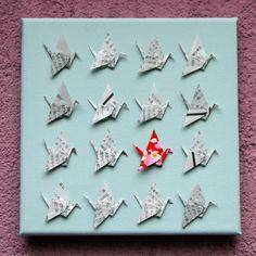 Tableau origami grues papier washi japonais