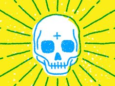 Skull by MUTI love the yellow and blue colours on this skull illustration. Skull Logo, Skull Art, Skull Illustration, Graphic Design Illustration, Skull Design, Skull And Bones, Mellow Yellow, Simple Art, Les Oeuvres