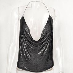Sequin-Metal Camisole Backless Bralette Crop Top