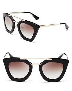 Prada Cat Eye Sunglasses, 49mm   Imported   100% UV protection   Logo at sides   49 mm lens width   Web ID:1136270