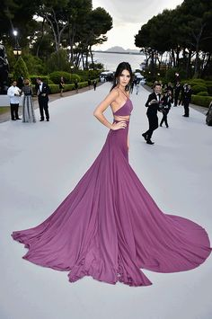 Kendall Jenner continuing her fashion icon status with another Calvin Klein dress which changed from long to short for the after party at the Cannes