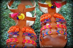Pom pom Sandals Greek leather sandals Boho by DimitrasWorkshop Pom Pom Sandals, Bohemian Sandals, Greek Sandals, Leather Sandals, The Balm, Trending Outfits, Unique Jewelry, Handmade Gifts, Etsy