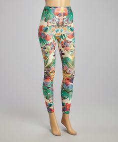 Coral & Green Blossom Leggings #zulily #zulilyfinds
