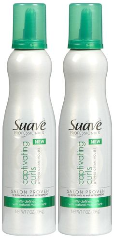 Get rid of frizzy hair and get stylish curls with the Suave Professionals Mousse, Captivating Curls, Whipped Cream Mousse. This mousse has whipped cream texture that allows the hair to hold natural curls and make curls touchable, not crunchy.      Alcohol free mouse     Contains anti-frizz complex     Defines and holds natural curl patterns  Suave Professionals Mousse, Captivating Curls, Whipped Cream Mousse helps you to define your curls in their natural pattern.