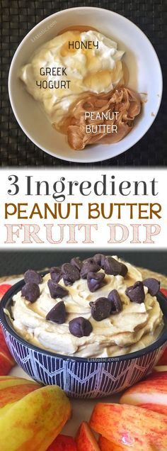 Easy 3 ingredient peanut butter fruit dip recipe... the perfect healthy after school snack for kids! and adults!