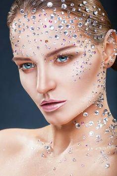 Shimmery make-up enhanced with rhinestones galore! Crystal Rhinestone, Swarovski Crystals, Crystal Tattoo, Face Art, Rhinestones, Sparkle, Make Up, Jewels, Disney Princess