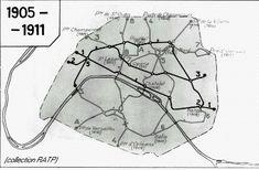 Depuis 1900, le métro transporte parisiens et touristes. Voici à quoi ressemblait le plan du réseau entre 1905 et 1911.