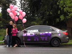 Prom proposal via car