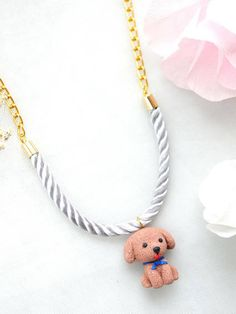 Dog full body Necklace Handmade Animal Clay Miniature Dog