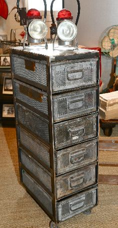 Zinc bin cabinet created by Madison & Mabel Industrial Living, Industrial Chic, Vintage Industrial, Industrial Design, Unique Vintage, Adjustable Table, Cubbies, Cool Style, Drawers