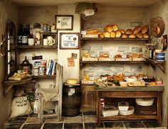 The Bakery -Vintage Country Old bread shop, Scale handmade Dollhouse Miniatures