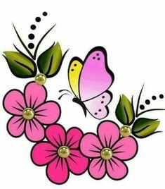 Discover thousands of images about 39 Ideas flowers print design clip art Flower Prints, Flower Art, Art Flowers, Paper Flowers, Fabric Paint Designs, Rock Flowers, Painted Flower Pots, Flower Doodles, Butterfly Art