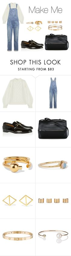"""""""Make Me"""" by anaelle2 ❤ liked on Polyvore featuring Victoria Beckham, Current/Elliott, Gucci, Givenchy, Maria Black, WWAKE, Arme De L'Amour, Maison Margiela, Cartier and Letters By Zoe"""