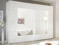 Armoire design blanche ADELAIDE Mirrored Wardrobe, Bedroom Wardrobe, Dressing Table Storage, Armoire Design, Wooden Sliding Doors, Mirror Door, White Furniture, Decoration, Trendy Tree