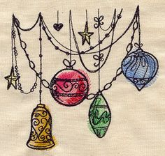 Draping Ornaments  Cotton Kitchen Tea Towel by StitchnJEmbroidery on Etsy