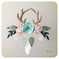 $75 - Baby Mobile - Boho Baby Mobile - Tribal Antler and Floral Nursery Decor - Baby Girl Mobile - Peach and Gold Feather Wall Decor