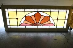 Antique Stained Glass Transom Window with Central Arch Design Antique Stained Glass Windows, Transom Windows, Stained Glass Projects, Decoration, Arch, Table Lamp, Lights, Antiques, Valances